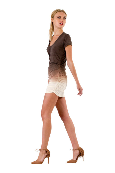 Cap Sleeve Shirred V in Espresso Cream Ombre Wash - Saint Grace