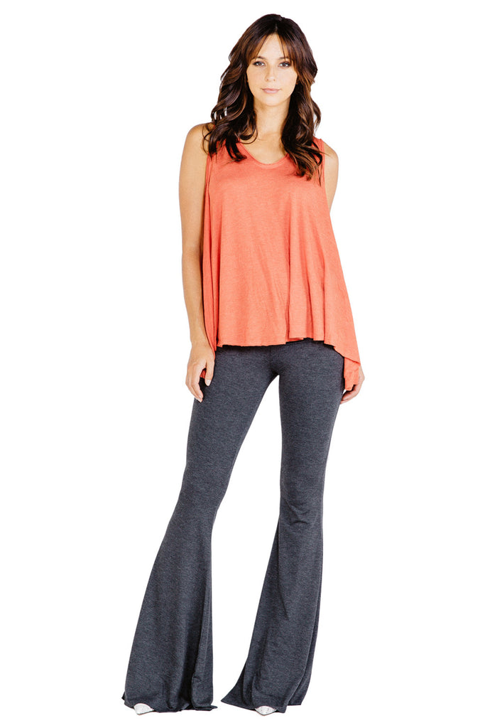 Ashby Foldover Flare Pants in Charcoal - Saint Grace