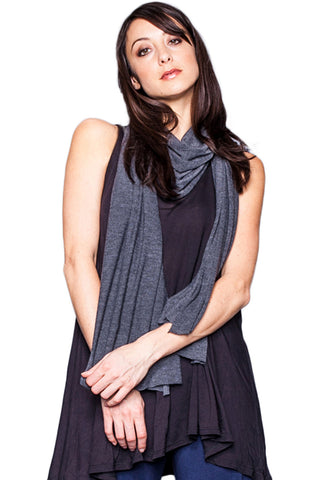 Rayon Jersey Scarf in Black - Saint Grace