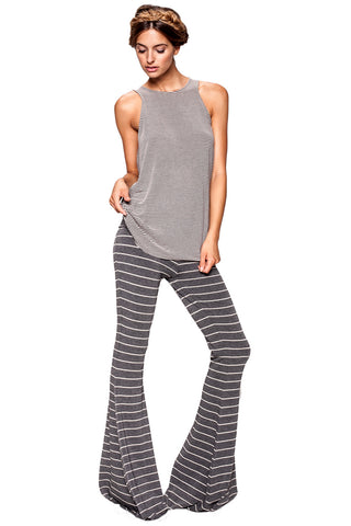Moby Stripe Ashby Pant in Charcoal Cream - Saint Grace