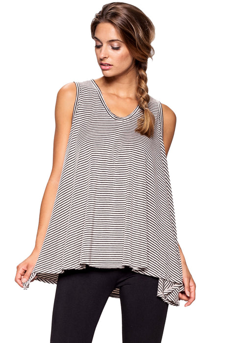 Helm Stripe Mila Top in White - Saint Grace