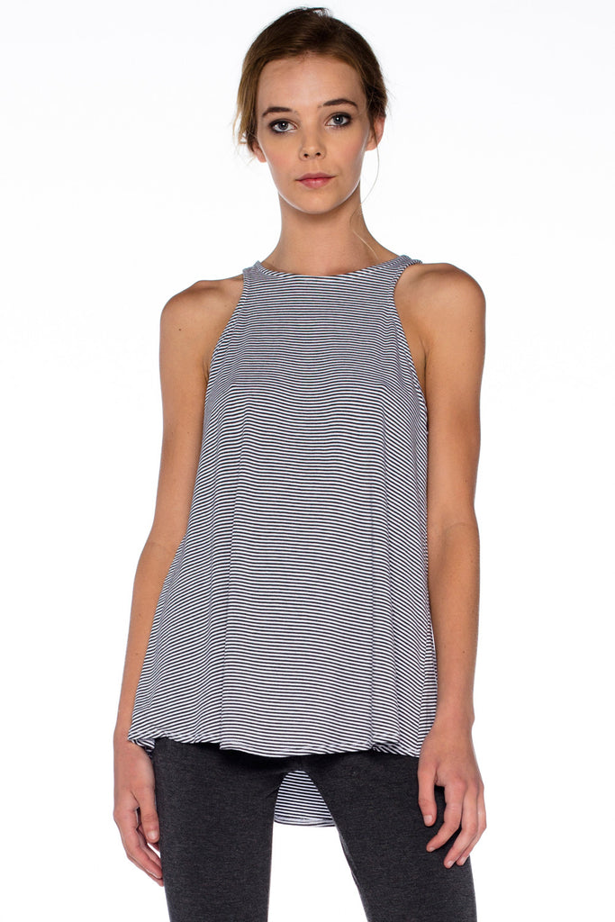 Micro Stripe Bandit Tank in White - Saint Grace