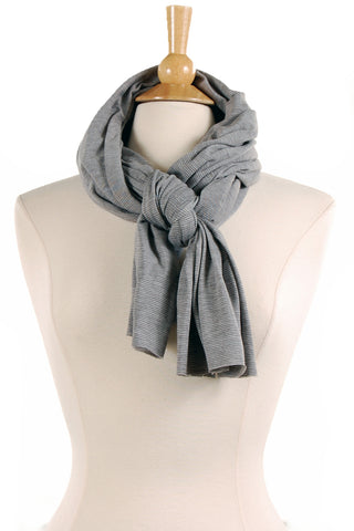 Micro Stripe Jersey Scarf in Seal - Saint Grace