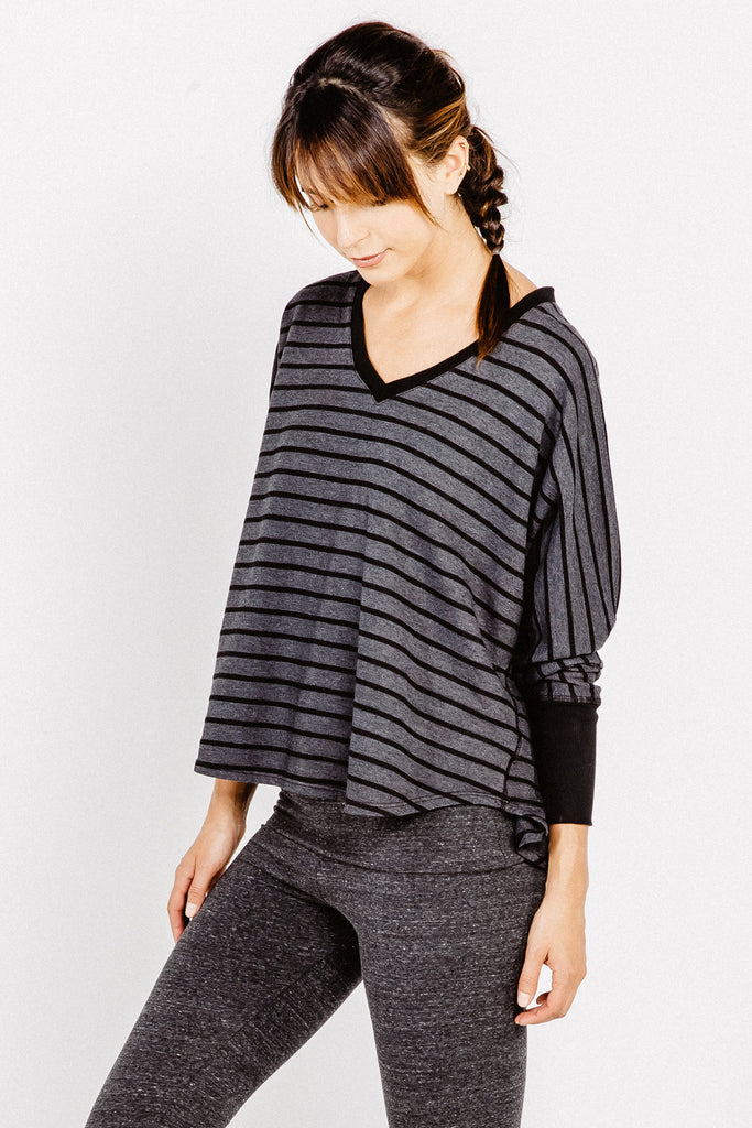 Compass Oversized V Top in Black - Saint Grace