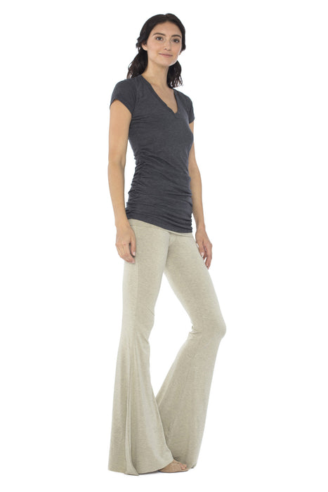 Ashby Foldover Flare Leg Pants in Oat
