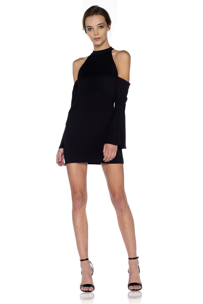 Abby Cold Shoulder Mini Dress in Black
