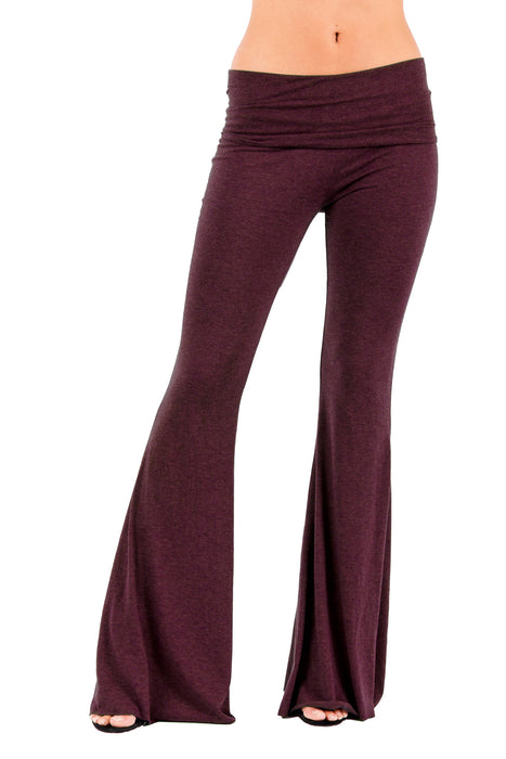 Ashby Foldover Flare Leg Pants in Merlot