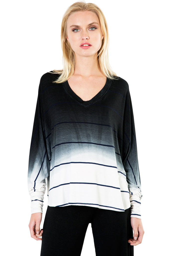 Sunset Stripe Compass Oversized V Top in Black Ombre Wash