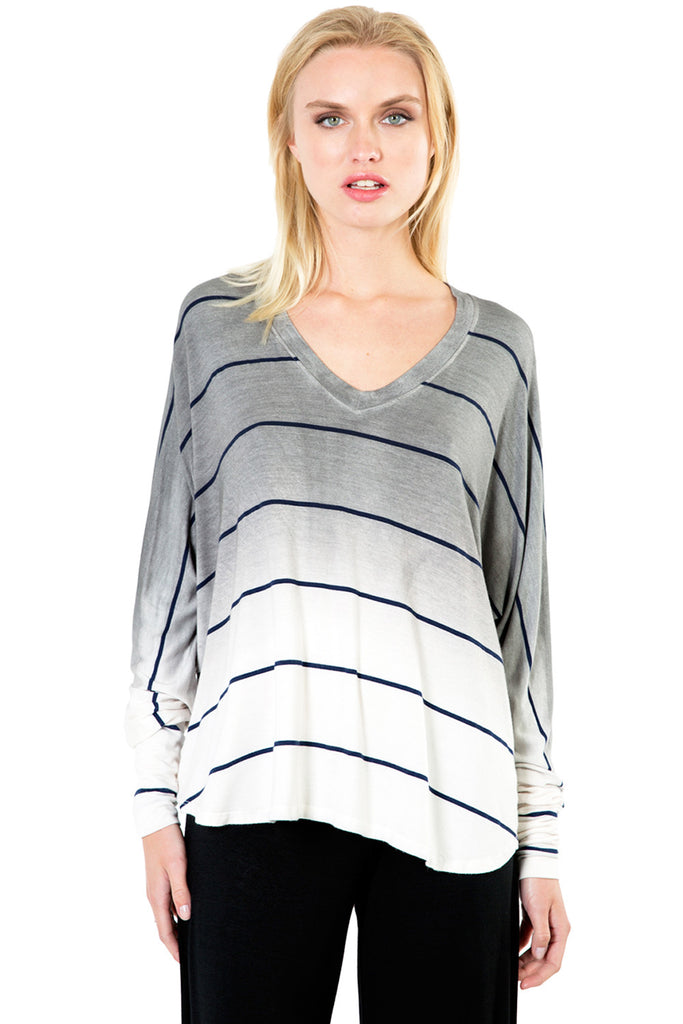 Sunset Stripe Compass Oversized V Top in Fifty Ombre Wash