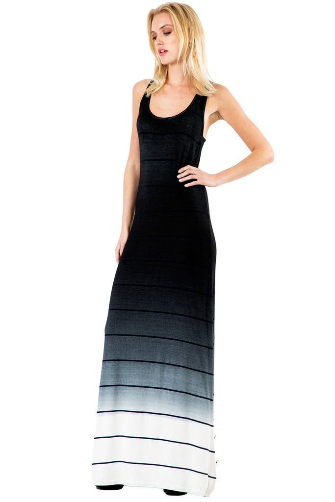 Sunset Stripe Maxi Tank Dress in Black Ombre Wash - Saint Grace