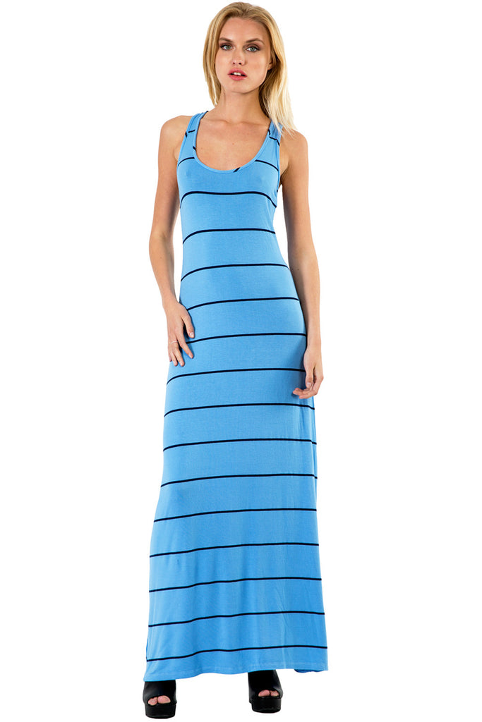 Sunset Stripe Maxi Tank Dress in Crete