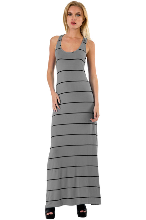 Sunset Stripe Maxi Tank Dress in Solid Colors - Saint Grace