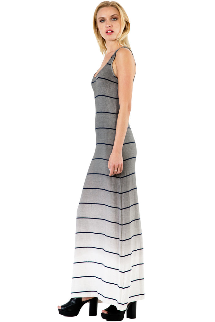 Sunset Stripe Maxi Tank Dress in Fifty Ombre Wash - Saint Grace