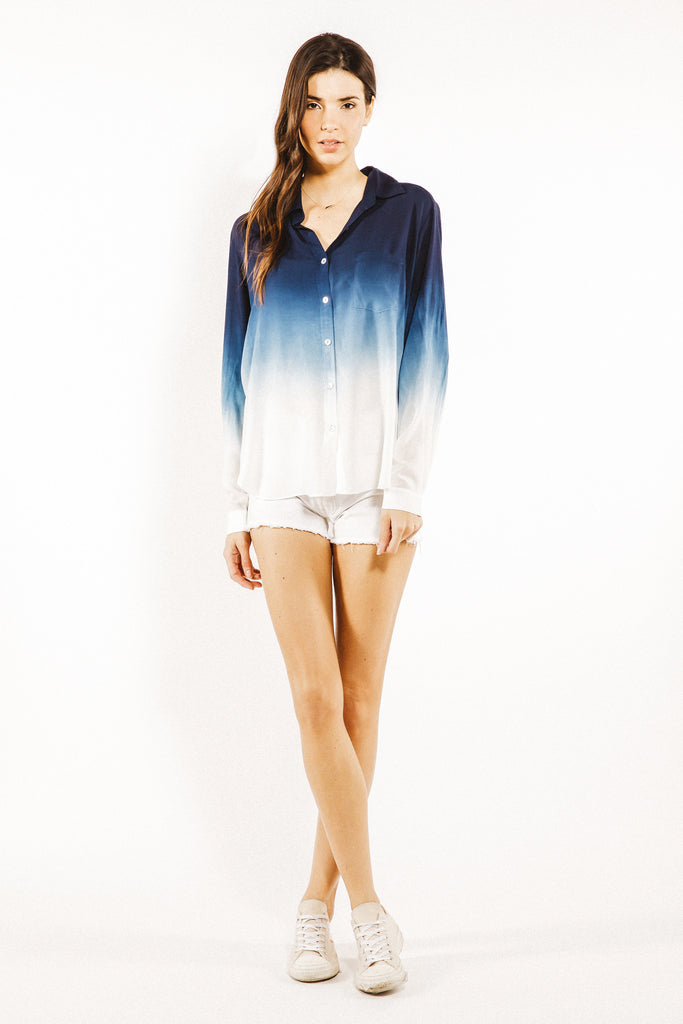 Gent Button Up Long Sleeve Shirt in Liberty Ombre Wash - Saint Grace