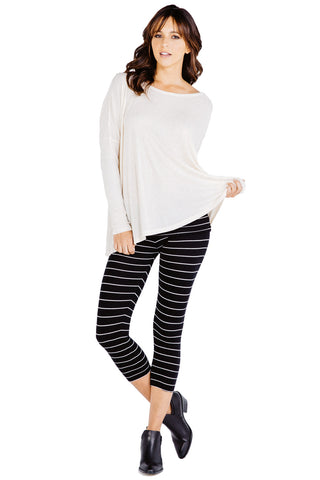 Fold Over Crop Legging in Black White - Saint Grace