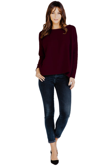 Highland Knit Omega Top in Merlot - Saint Grace