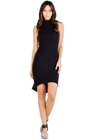 Brushed Knit Kaya Sleeveless Dress in Black - Saint Grace