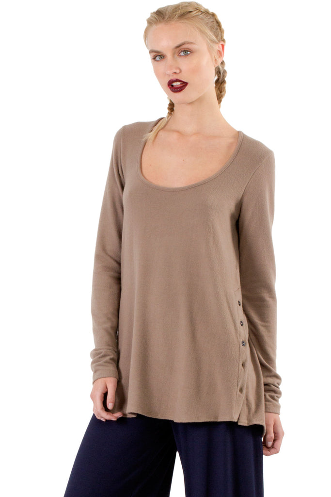 Brit Side Button Long Sleeve Top in Mojave - Saint Grace