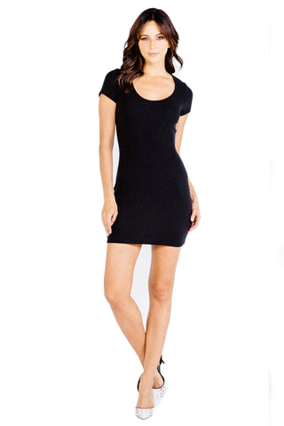 Highland Knit Clover Mini Dress in Black - Saint Grace
