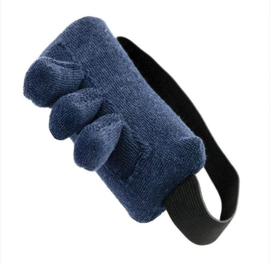 FINGER CONTRACTURE CUSHION WITH PADDED FINGER SEPARATORS AND THICK ELASTIC BAND