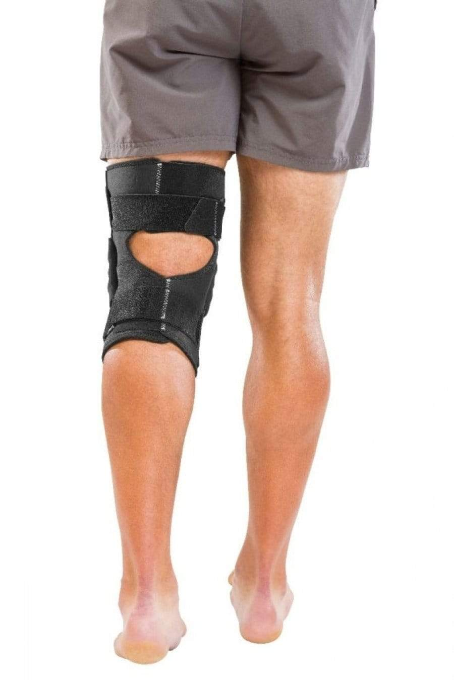 MUE5313 METAL TRIAXIAL HINGED WRAPAROUND KNEE BRACE WITH OPEN BACK TO PREVENT BUNCHING