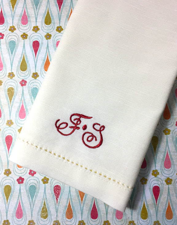 Ink Double Letter Monogrammed Cloth Napkins - Set of 4 napkins - White Tulip Embroidery