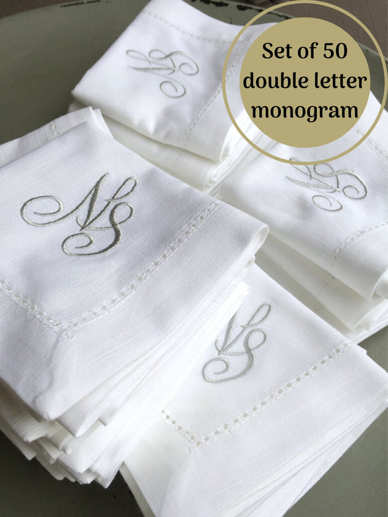 Bulk Two Initial Script Monogrammed Cloth Napkins - Set of 50