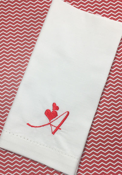 Love Heart Monogrammed Cloth Napkins - Set of 4 napkins - White Tulip Embroidery