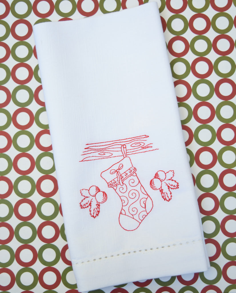 Christmas Stocking Cloth Dinner Napkins - Set of 4 Christmas napkins - White Tulip Embroidery