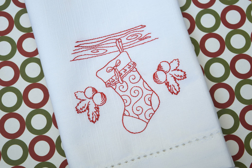 Christmas Stocking Cloth Dinner Napkins - Set of 4 Christmas napkins-White Tulip Embroidery