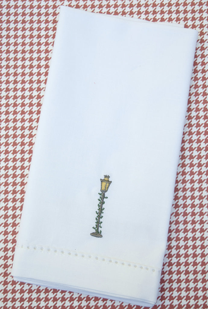 Christmas Lamp Post Embroidered Cloth Napkins - White Tulip Embroidery