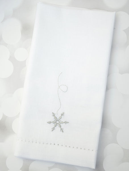 Falling Snowflake Cloth Napkins - Set of 4 napkins