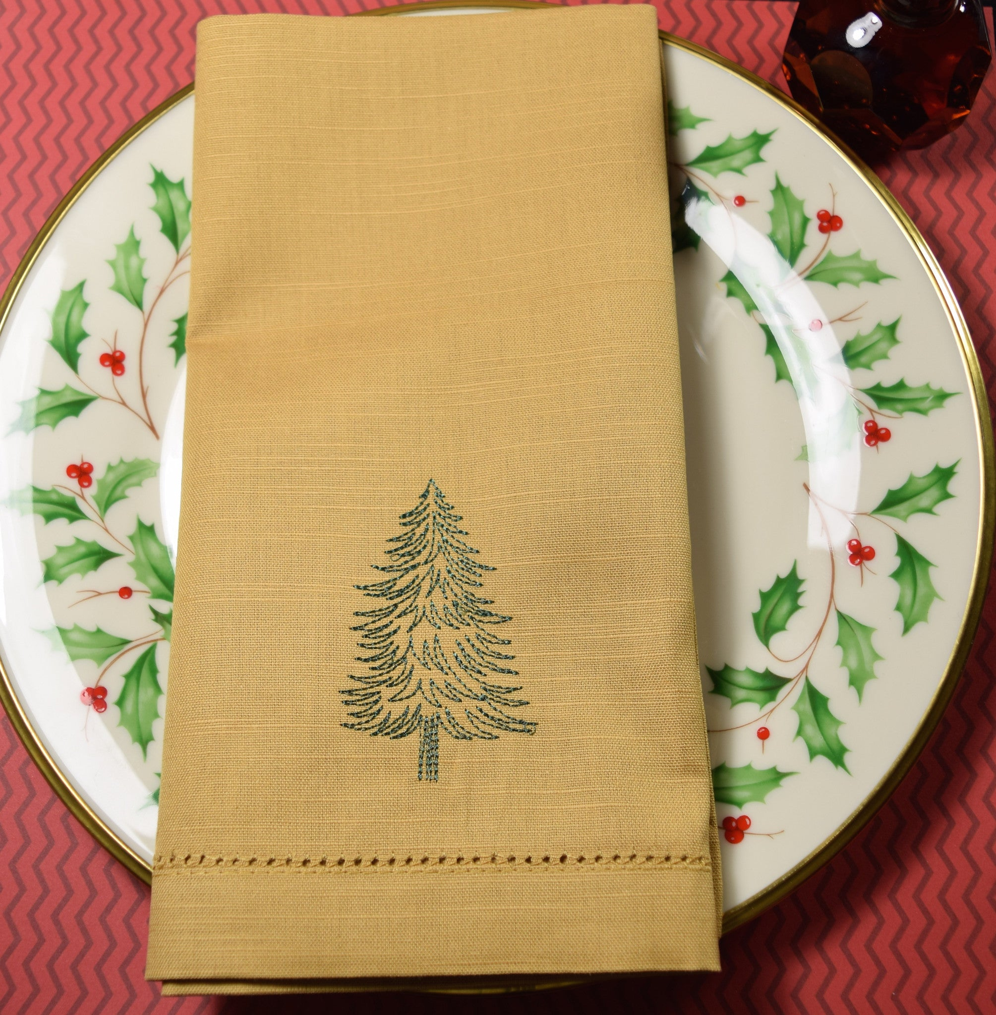 christmas tree cloth dinner antique gold napkins set of 4 napkins - Christmas Napkins Cloth