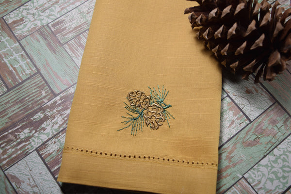 Pine Cone Christmas Cloth Antique Gold Napkins - Set of 4 napkins - White Tulip Embroidery