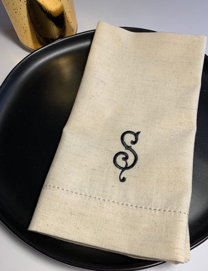 Monogrammed Natural Cotton Linen Napkins - Set of 4 beige khaki cotton/linen napkins - White Tulip Embroidery