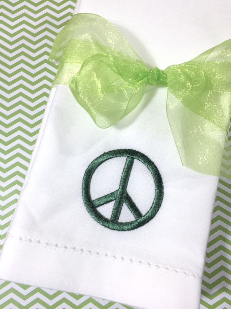 Peace Sign Embroidered Cloth Napkins - Set of 4 napkins - White Tulip Embroidery