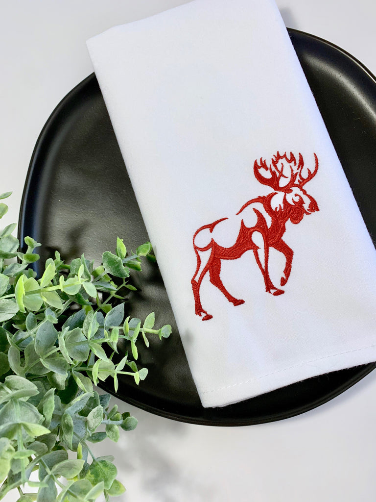 Northwoods Moose Embroidered Cloth Napkins - Set of 4 napkins-White Tulip Embroidery