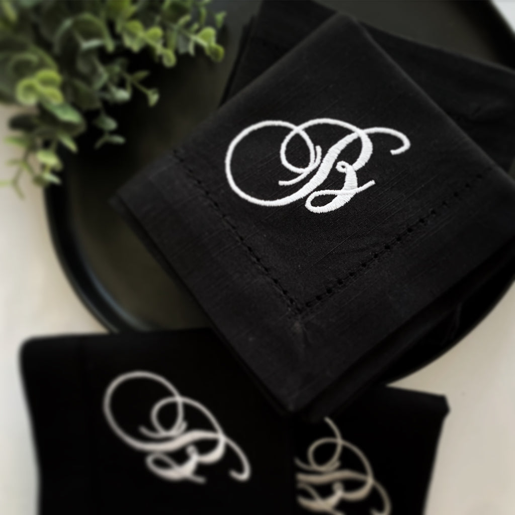 Chopin Monogrammed Embroidered Cloth Dinner Napkins - Set of 4 napkins - White Tulip Embroidery