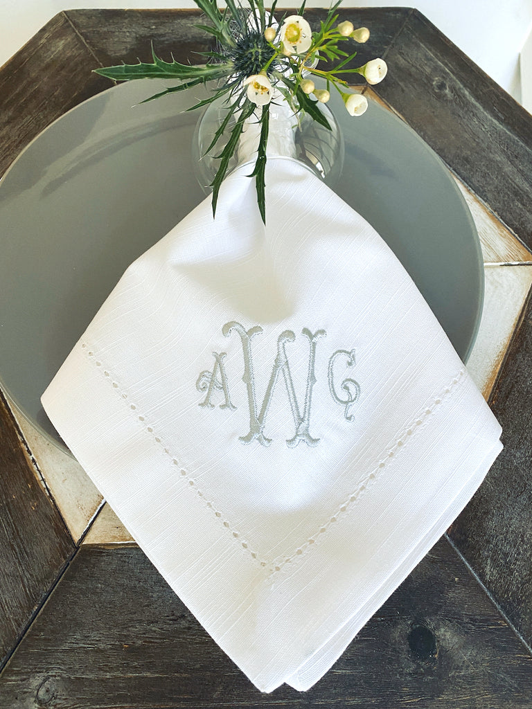 Southern Monogrammed Embroidered Cloth Napkins