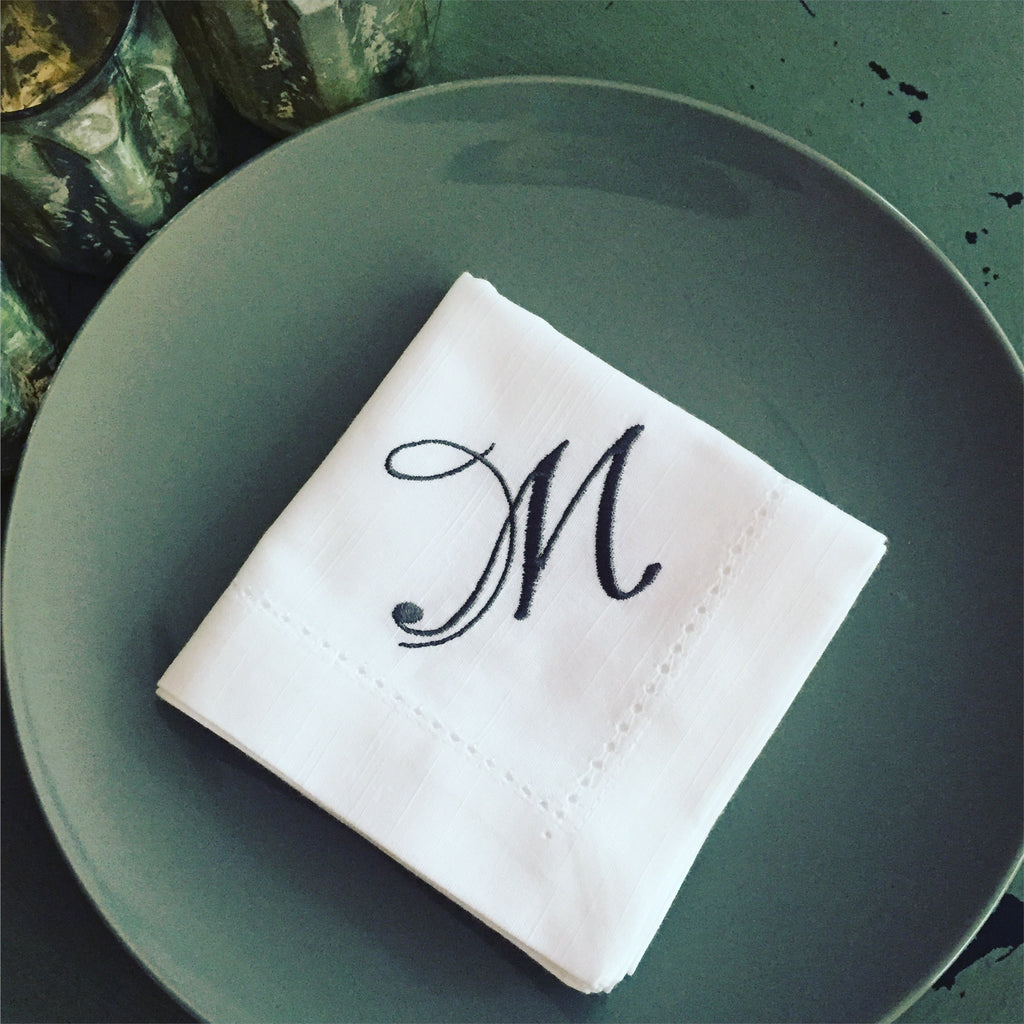 Bliss Monogrammed Cloth Dinner Napkins - Set of 4 napkins-White Tulip Embroidery