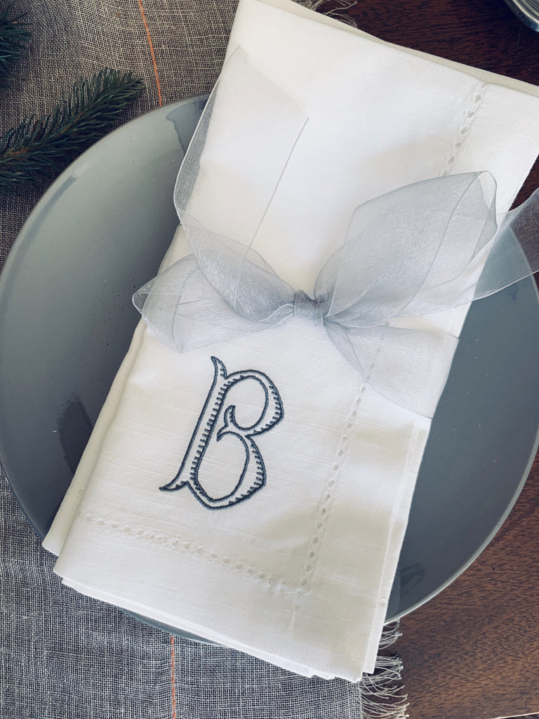 Baroque Monogrammed Embroidered Cloth Napkins