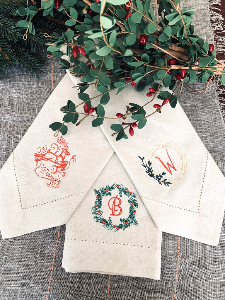 Santa and Reindeer Christmas Cloth Napkins - Set of 10 unique napkins