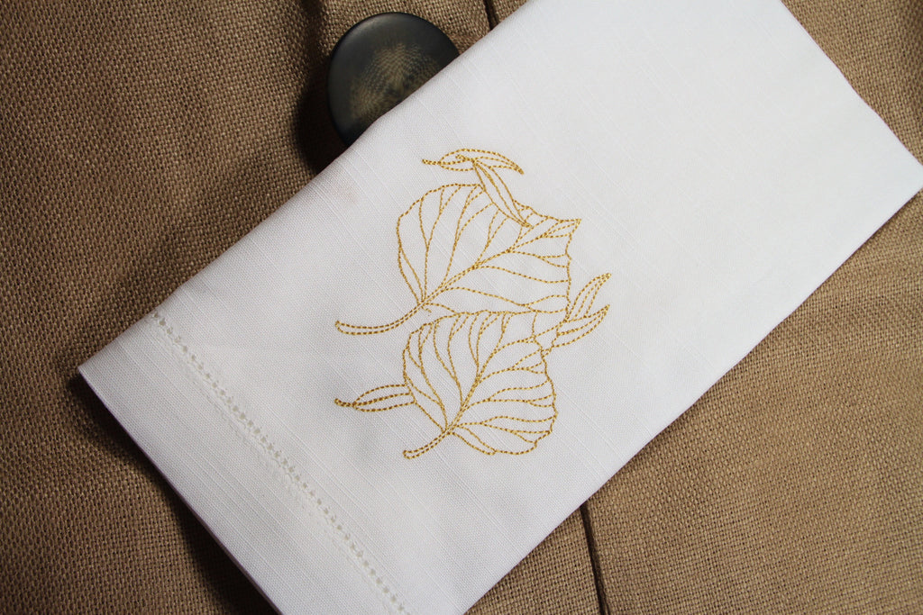 Thanksgiving Embroidered Cloth Leaves Napkins - Set of 4 napkins - White Tulip Embroidery