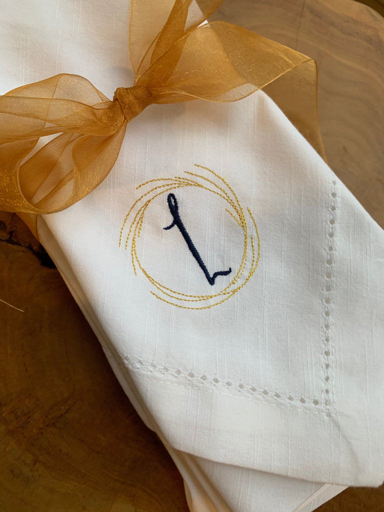 Branch Monogrammed Cloth Dinner Napkins - Set of 4 napkins
