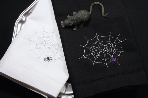 Spooky Halloween Spider Web Napkins - Set of 4 cloth napkins - White Tulip Embroidery
