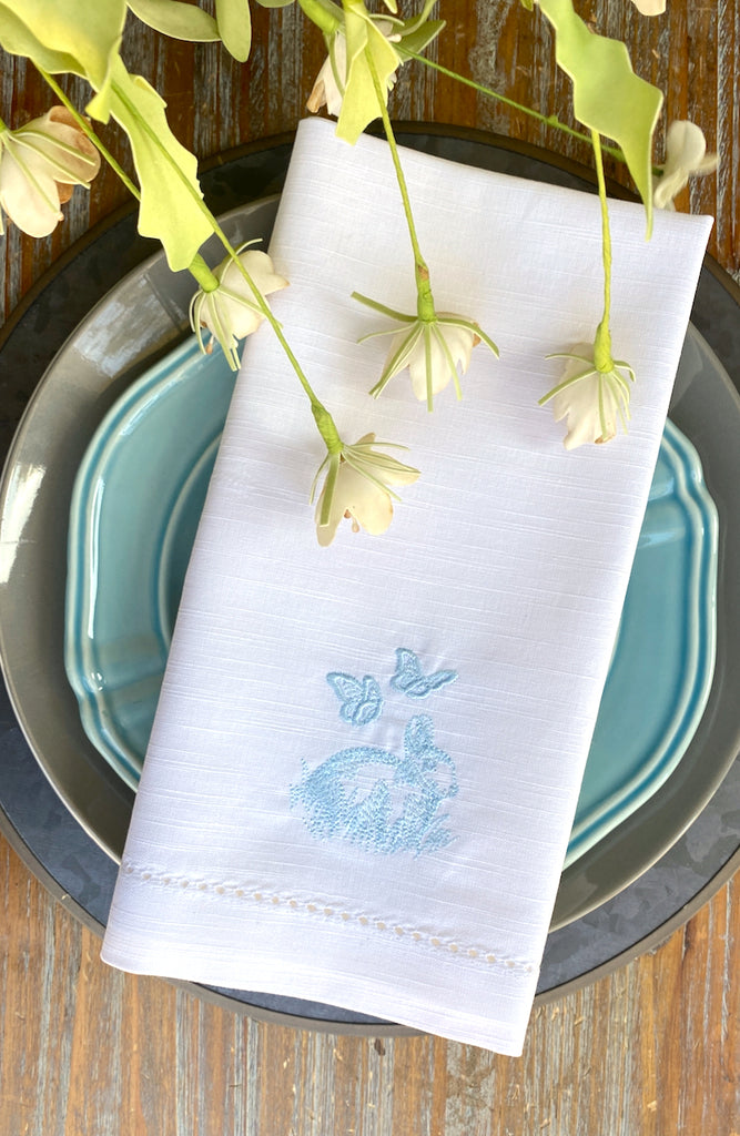 Easter Bunny Butterfly Cloth Napkins - Set of 4 napkins