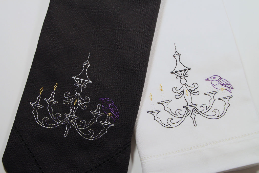 Spooky Chandelier Cloth Napkins - Set of 4 Halloween napkins - White Tulip Embroidery