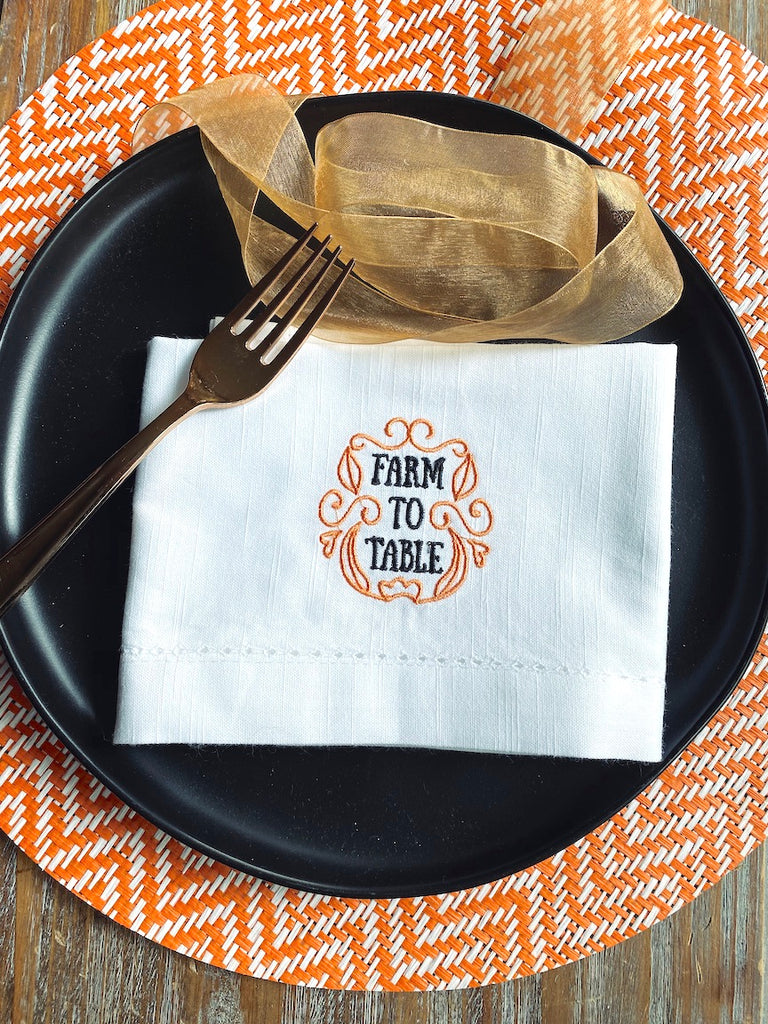 Farm To Table Embroidered Cloth Napkins - Set of 4 napkins