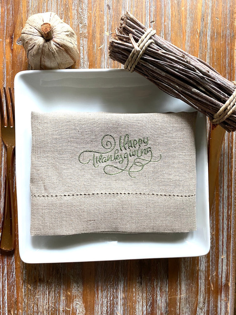 Happy Thanksgiving Embroidered Cloth Napkins - Set of 4 napkins