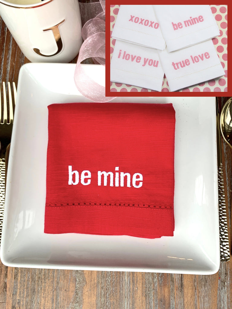 Valentine's Day Candy Hearts Cloth Napkins - Set of 4 napkins
